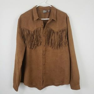 Asos | Faux Suede Fringe Button Up Shirt